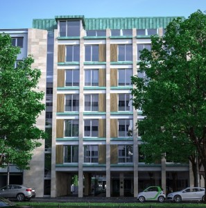 Ein Rendering unseres bisher größtes Projekts BV Potsdamer Straße 72 in Berlin Tiergarten. Hochwertige Fassadenelemente mit Holz, Glas und Kupferblech mit Grünspan. Megatrend MikroWohnen auch gleich in die Tat umgesetzt, das Vorderhaus hat 25 Wohnungen mit ca. 45 m², das Penthouse mit Blick auf den Potsdamer Platz dafür aber 250 m². (Rendering Paolini & Storchi Architekten)